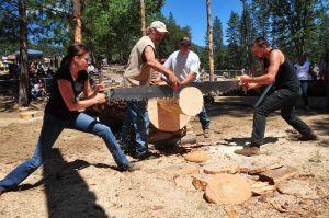 Participants sawing away and having fun, Loggers Jamboree 2012
